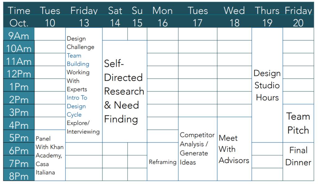 Design Challenge Schedule